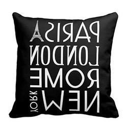 Paris London Rome and New York Throw Pillow Case Cushion Cov