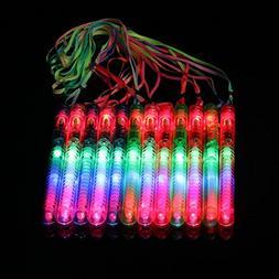 Ezerbery 12 pcs LED Party Favor Glow Wands Multicolor Flashi