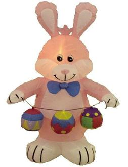 4 Foot Party Inflatable Bunny w / Color Eggs - Yard Decorati