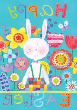 """ Patchwork Bunny - Happy Easter "" - Double Sided STANDARD S"