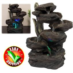 Patio Fountain With LED Light Water Garden Outdoor Lawn Yard