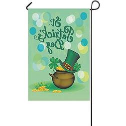 Beigehome St. Patrick s Day Clover Double Sided Garden Flag