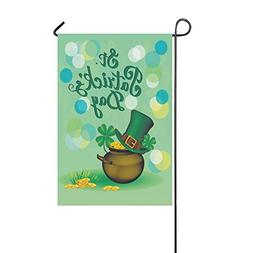 InterestPrint St. Patrick s Day Clover Polyester Garden Flag