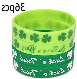 St. Patrick's Day Shamrock Rubber Wristbands Bracelets - Par