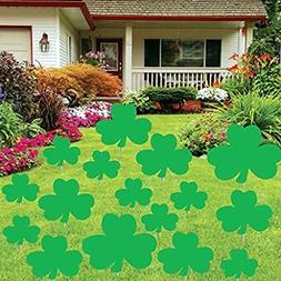 St. Patricks Day - Yard Decoration - Green Shamrocks W/32 Sh
