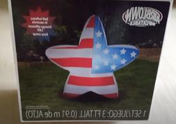 Patriotic American Flag Star Inflatable 3ft Airblown Gemmy A