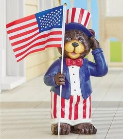 Patriotic Bear Holding American Flag Garden Statue 4th of Ju