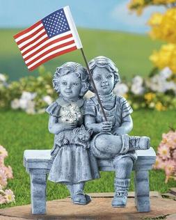 Patriotic Boy Girl American Flag Figurine Garden Yard Statue