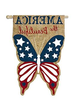 Patriotic Burlap America the Beautiful 2-Sided Vertical Flag
