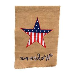 Patriotic Burlap Welcome House Flag - President's Day, Veter
