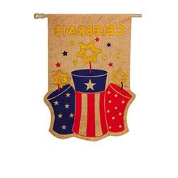 Patriotic Fireworks Celebrate Burlap House Flag