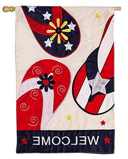 Patriotic Flip Flop Welcome Applique House Flag