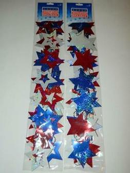 Patriotic Garland Red White Blue Stars Prismatic 18' USA Jul