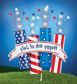 Patriotic Happy 4th of July Lighted Fireworks Flag Yard Stak