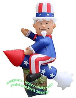 PATRIOTIC INFLATABLE 8' TALL UNCLE SAM RIDING ON GIANT ROCKE