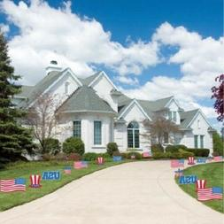 Patriotic Pathway Markers - Memorial Day Decorations - Red,