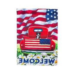 Patriotic Pup Truck Vertical Flag