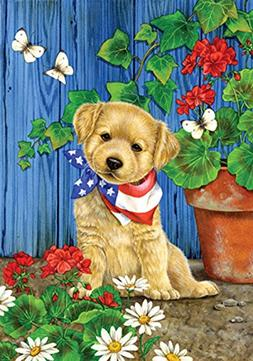 Toland Home Garden Patriotic Puppy 12.5 x 18 Inch Decorative