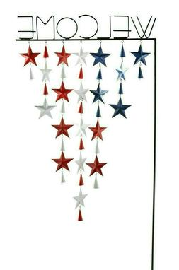 """Pier 1 Imports Patriotic Stars 42"""" Welcome Garden Stake 4th"""