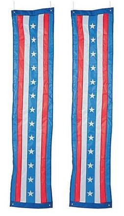 Patriotic Stars Stripes Pillar Flag Bunting Set Outdoor Yard