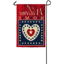 Patriotic Sub Suede Welcome Hearts Garden Flag