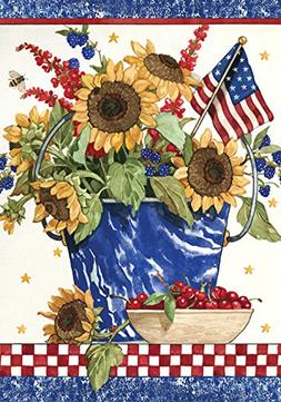 Toland Home Garden Patriotic Sunflowers 12.5 x 18-Inch Decor