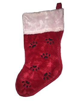 15 Inch Paw Prints Plush Christmas Stocking - Red, Black, Wh