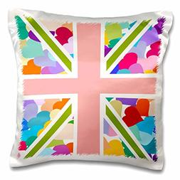 3dRose pc_58321_1 Colorful Cute Hearts Pattern Union Jack En