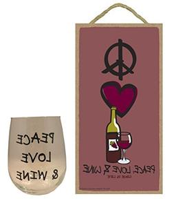 """5""""x10"""" Peace, Love & Wine Wood Plaque and 17 oz Stemless Win"""