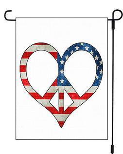 Peace Sign Heart Patriotic Garden Banner Flag 12x18 Yard Dec