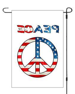 Peace Sign Patriotic Garden Banner Flag Yard Decor 11x14 - 1