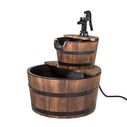 Peach Tree 2 Tier Outdoor Wooden Water Fountain Yard Decorat