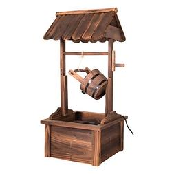Peach Tree Outdoor Wooden Wishing Well Outdoor Garden Rustic