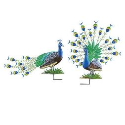 Peacock Garden Stakes - Set Of 2