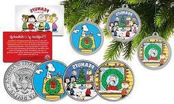 PEANUTS CHRISTMAS Charlie Brown JFK Half Dollar 3-Coin Set Tree Ornaments SNOOPY