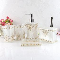 Eovsea Pearl floral set Resin Bathroom Accessories 5PCS Soap