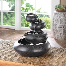 Pebble Water Fountain, Tabletop Bowl Fountain, Granite Finis