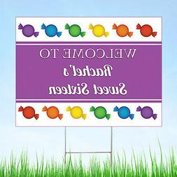 Personalized Candy Land Party Yard Sign, Sweet 16 Candy Land