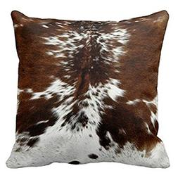 Personalized Throw Pillowcase 18 x 18 Tri Color Brown Cowhid