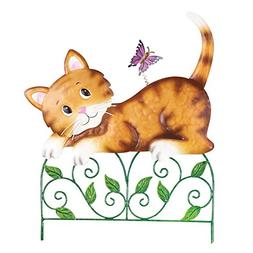 Collections Etc Pet On Fence Garden Decor Yard Stake, Cat