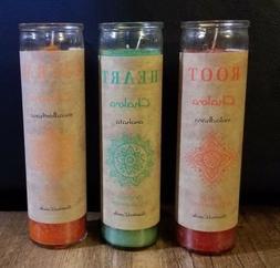 Pillar Chakara 3 Candle Set - Root Muladhara, Heart Anahata,