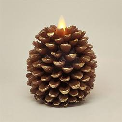 """Ksperway Pine Cone Candle: 3.5"""" x 4"""" Unscented, Battery Oper"""