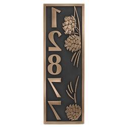 Pine Cone Vertical Address Plaque 6.5x19.5 - Raised Bronze C