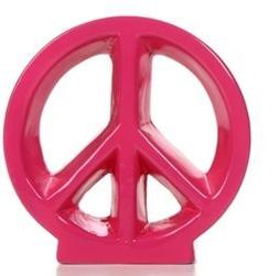 "Hosley 5.5"" Pink Ceramic Peace Sign / Table Top, Ideal Gift,"