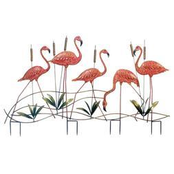 Pink Flamingo Flock Iron Garden Stake Yard Decor Set NEW