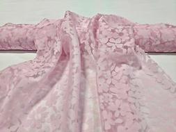 """Pink Floral Sheer Organza Shimmer Burnout 56"""" Wide Apparel F"""