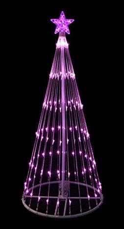 4' Pink LED Light Show Cone Christmas Tree Lighted Yard Art