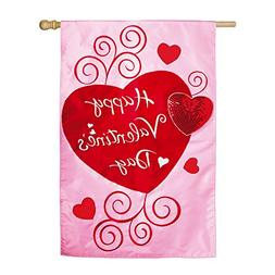 Pink and Red Scroll Applique Valentine Hearts House Flag
