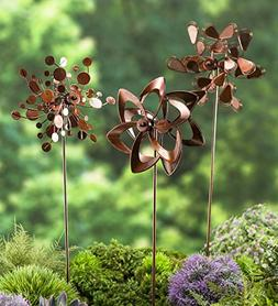 Set of 3 Metal Pinwheel Decorative Garden Stakes 7 L x 4.25