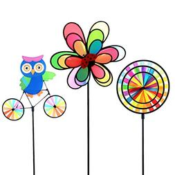 ASWCOWY Pinwheels Windmills Wind Spinners 3 Pack Made of Dur